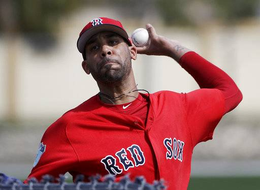 "FILE - In this Feb. 19, 2017, file photo, Boston Red Sox pitcher David Price throws a live batting session at a spring training baseball workout in Fort Myers, Fla. Price knew better than lobby for a chance to go out for a third inning after struggling through the first two in the Boston ace's first minor league rehab start. ""I've got to do as I'm told,"" Price said. ""If I don't like it, pitch better."" Though saying he felt no soreness in his strained left pitching elbow that has sidelined him since late February, Price didn't appear entirely right during a brief stint with Triple-A Pawtucket at Buffalo on Friday night, May 19. (AP Photo/David Goldman, File)"