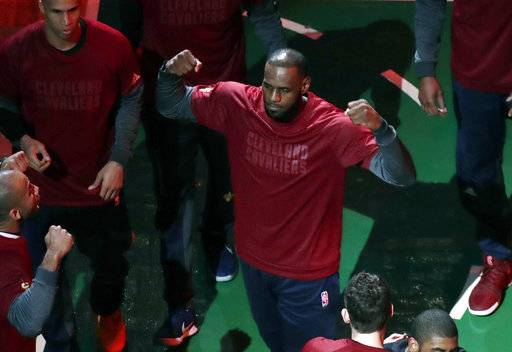 Cleveland Cavaliers forward LeBron James is introduced before Game 2 of the NBA basketball Eastern Conference finals against the Boston Celtics, Friday, May 19, 2017, in Boston. (AP Photo/Elise Amendola)