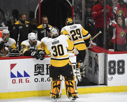 Pittsburgh Penguins coach Mike Sullivan puts goalie Mat Murray in for Marc-Andre Fleury during the first period against the Ottawa Senators in Game 3 of the NHL hockey Stanley Cup Eastern Conference finals, Wednesday, May 17, 2017, in Ottawa, Ontario. (Peter Diana/Pittsburgh Post-Gazette via AP)
