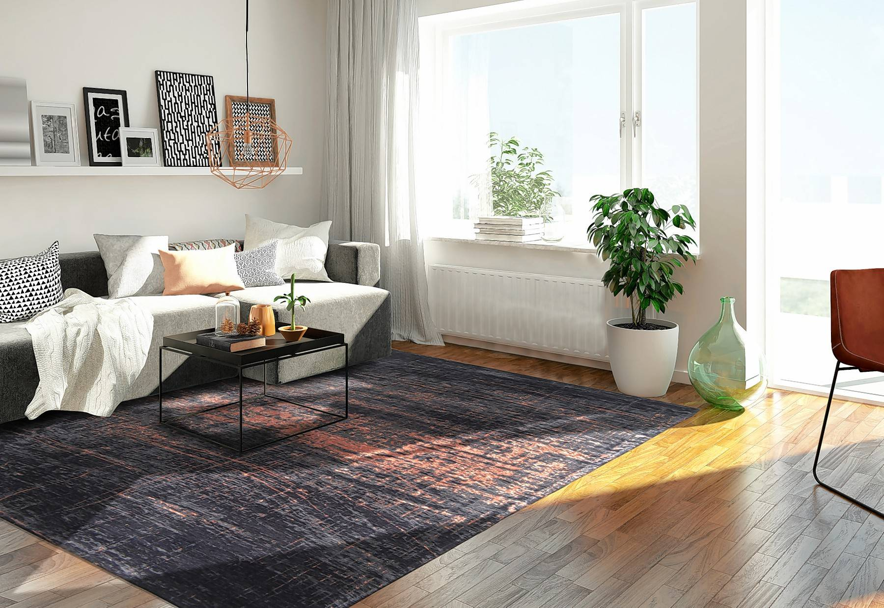 Mark the territory with an area rug, as represented here, to define a sitting area.