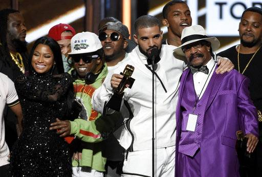 Drake accepts the top artist award at the Billboard Music Awards at the T-Mobile Arena on Sunday, May 21, in Las Vegas.