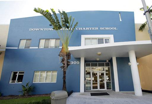 This Wednesday, May 17, 2017 photo shows the Downtown Miami Charter School in Miami. In 2012, the mother of a second-grade student at the school filed suit after she said she pleaded in vain for months for administrators to protect her son from sexual abuse by an older boy at the charter school. Eventually, the 7-year-old tried to kill himself by walking into traffic with his eyes closed, according to the family's lawsuit. Two years later, the boy testified, he still had nightmares his tormenter would crawl in through his bedroom window and kill his mother. (AP Photo/Alan Diaz)