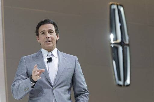 FILE - In this April 12, 2017 file photo, Ford Motor Co. President and CEO Mark Fields speaks during a media preview of the 2018 Lincoln Navigator at the New York International Auto Show in New York. Ford is replacing its CEO amid questions about its current performance and future strategy, a person familiar with the situation has said. Fields will be replaced by Jim Hackett, who joined Ford's board in 2013. (AP Photo/Mary Altaffer, File)