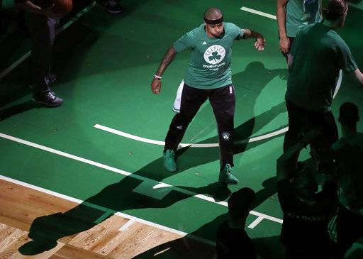 Boston Celtics guard Isaiah Thomas is introduced before Game 2 of the NBA basketball Eastern Conference finals against the Cleveland Cavaliers, Friday, May 19, 2017, in Boston. (AP Photo/Elise Amendola)