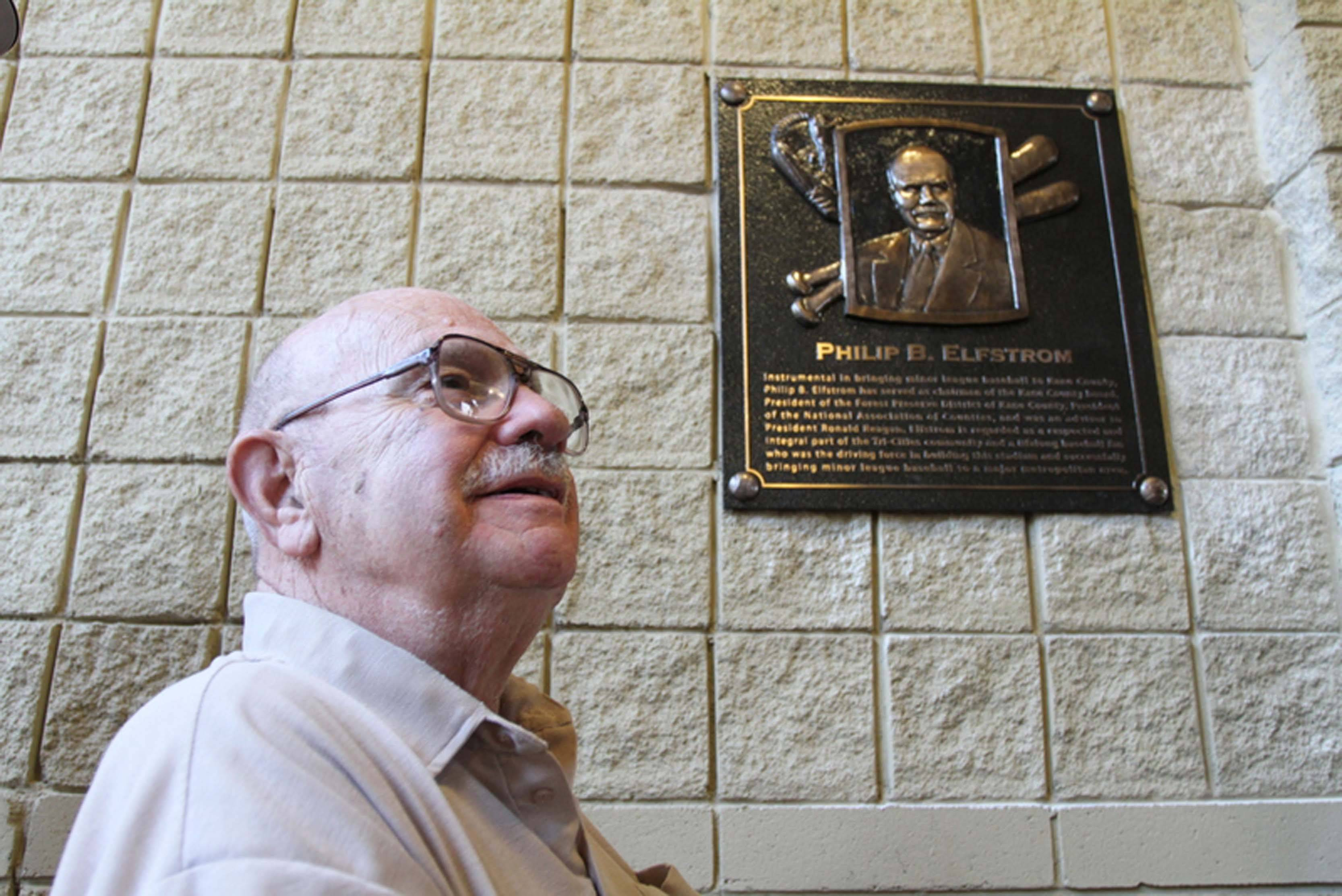 A plaque recognizing Phil Elfstrom's contributions to bringing a minor league stadium to Kane County is at Northwestern Medicine Field in Geneva.