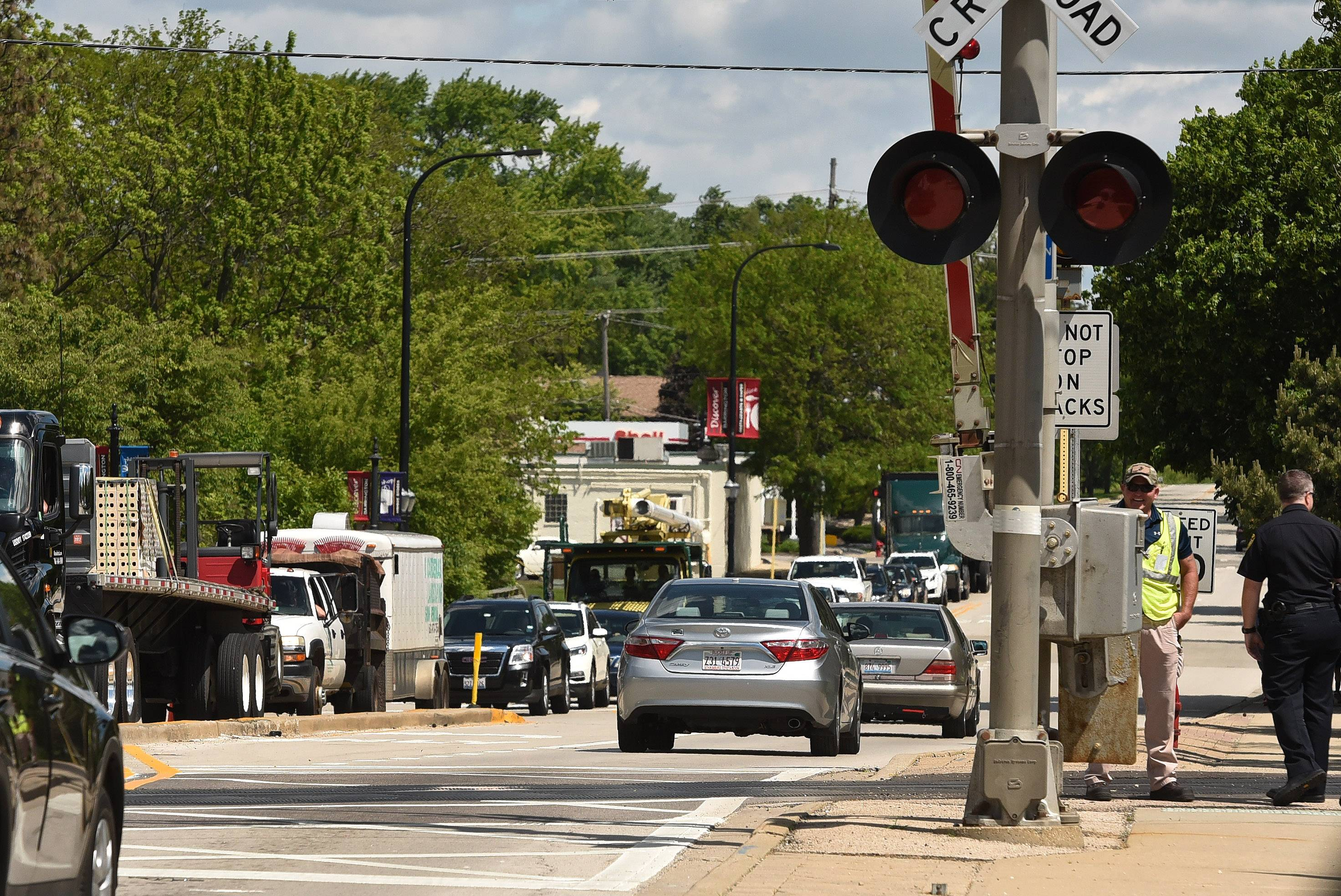 Traffic is rolling again through downtown Barrington after an earlier collision between a train and truck closed both routes 59 and 14 in the heart of the village for more than two hours.