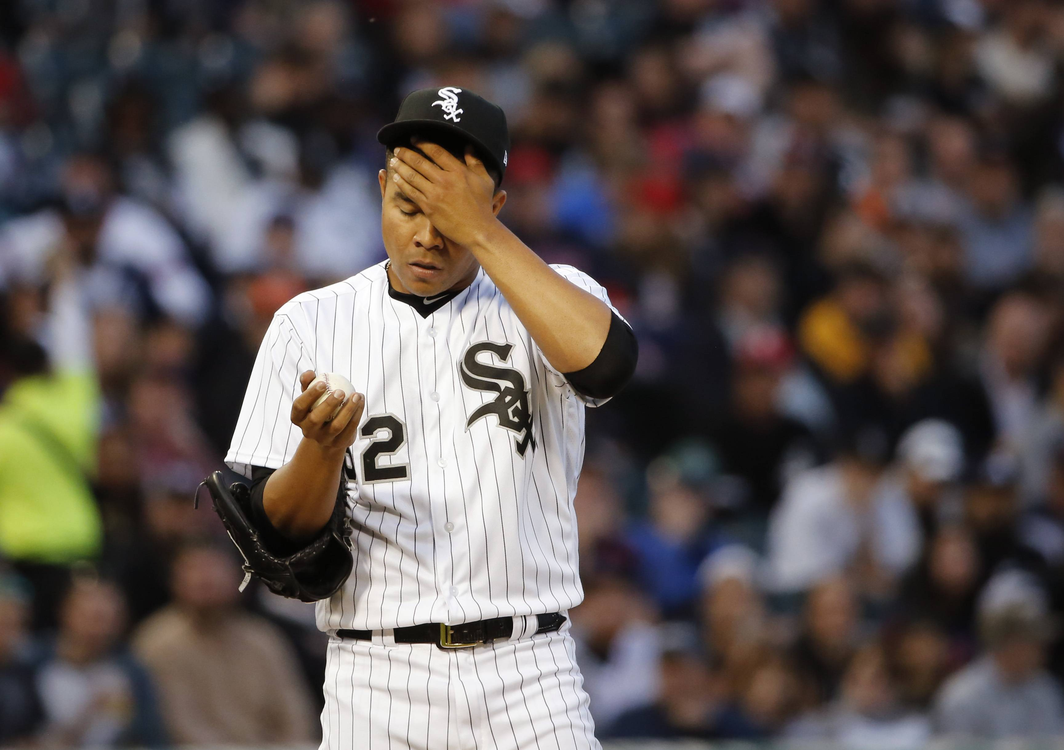 Chicago White Sox starting pitcher Jose Quintana last just 2⅔ innings Tuesday night against the Red Sox, allowing 7 earned runs on 10 hits.