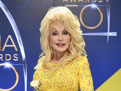 FILE - In this Nov. 2, 2016 file photo, Dolly Parton poses in the press room with the Willie Nelson Lifetime Achievement Award during the 50th annual CMA Awards in Nashville, Tenn. Parton is one of several country stars who will be honored by the Academy of Country Music during a television special later this year. (Photo by Evan Agostini/Invision/AP, File)