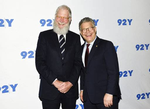 Sen. Al Franken, D-Minn., right, and former talk show host David Letterman arrive for their conversation at 92Y on Tuesday, May 30, 2017, in New York. (Photo by Evan Agostini/Invision/AP)