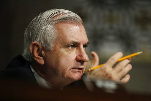 FILE - In this April 27, 2017 file photo, Sen. Jack Reed, D-R.I., ranking member on the Senate ​Armed Services Committee speaks on Capitol Hill in Washington. Senate Democrats don't want to let President Donald Trump forget the day he met with top Russian diplomats at the White House, even as he tries to move past allegations of possible collusion between Moscow and his presidential campaign. (AP Photo/Manuel Balce Ceneta, File)