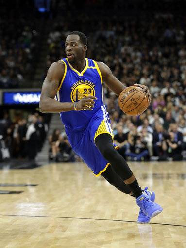 FILE - In this Monday, May 22, 2017 file photo, Golden State Warriors' Draymond Green (23) handles the ball during the first half in Game 4 of the NBA basketball Western Conference finals against the San Antonio Spurs in San Antonio. (AP Photo/Eric Gay, File)