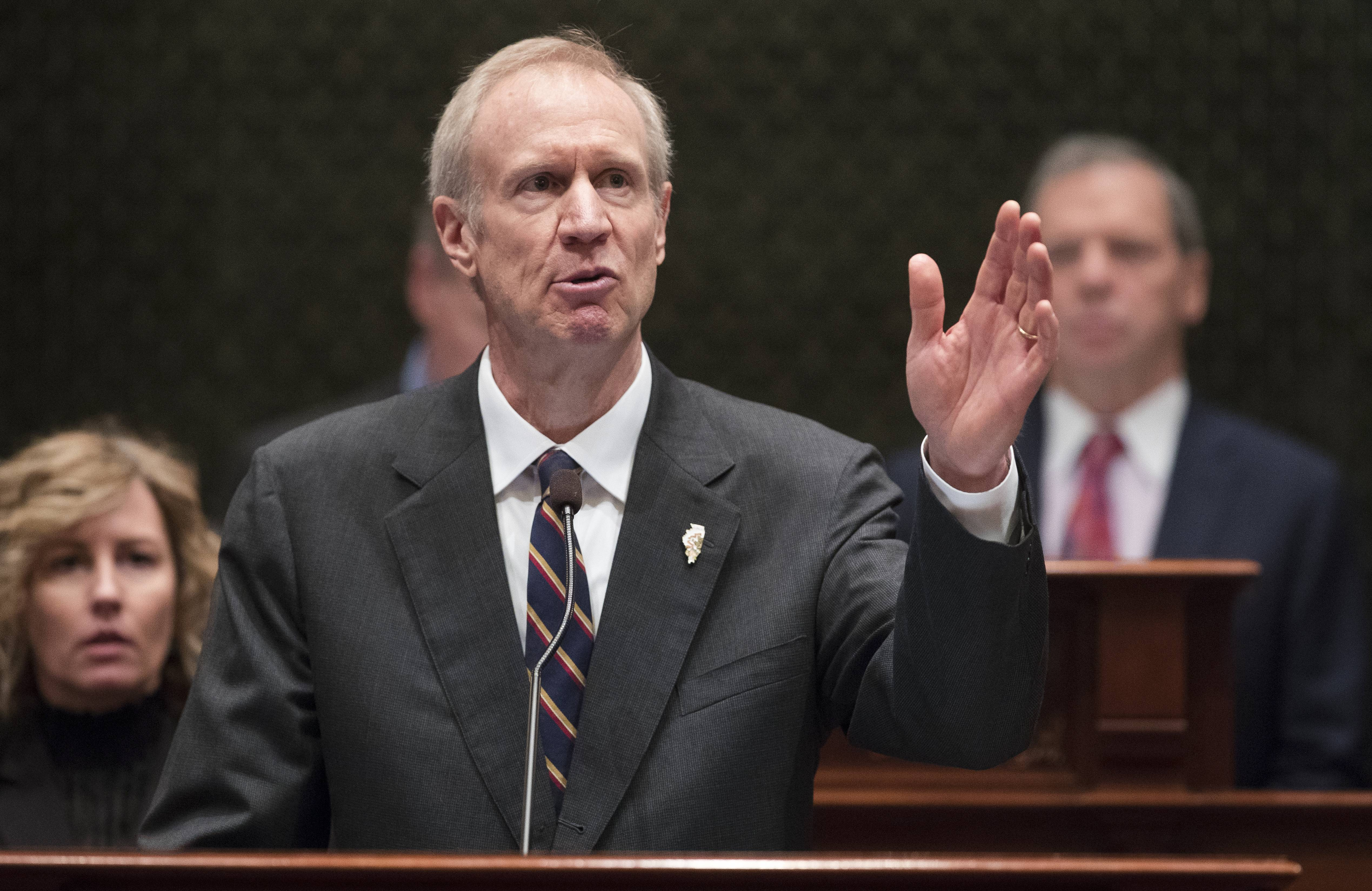 Illinois Gov. Bruce Rauner delivers his State of the State address in the Illinois House chamber last January in Springfield.