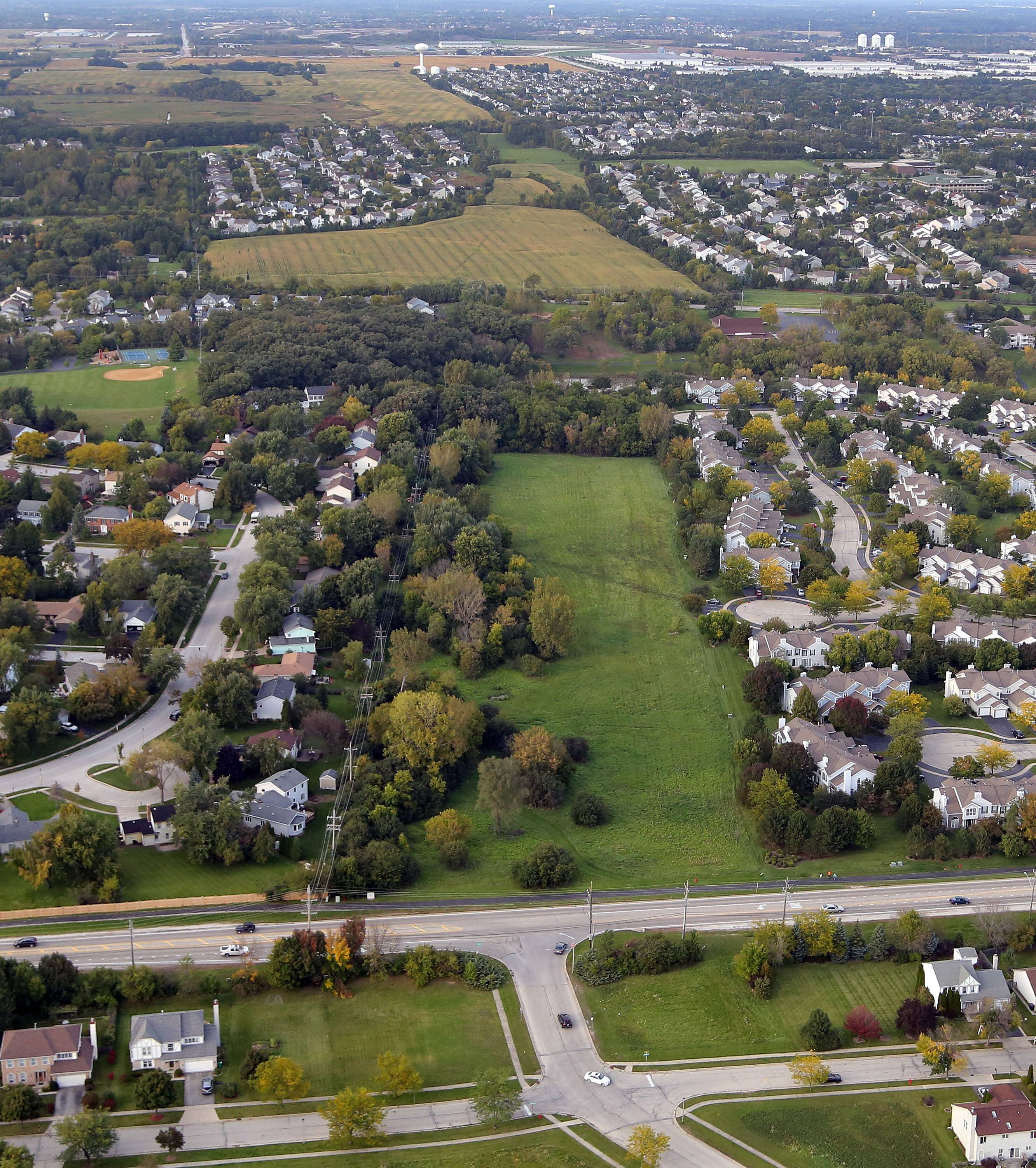 The path of a proposed Route 53 extension cuts through a neighborhood along Hawley in Mundelein just west of Mundelein High School. Opponents of the proposal are pushing for a health study, separate from a planned environmental study, to examine the road's impacts.