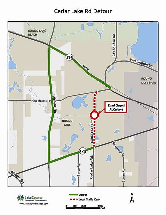 This map shows where Cedar Lake Road in Round Lake will be closed to through traffic beginning July 5 for work to replace the Squaw Creek culvert, as well as a detour route.