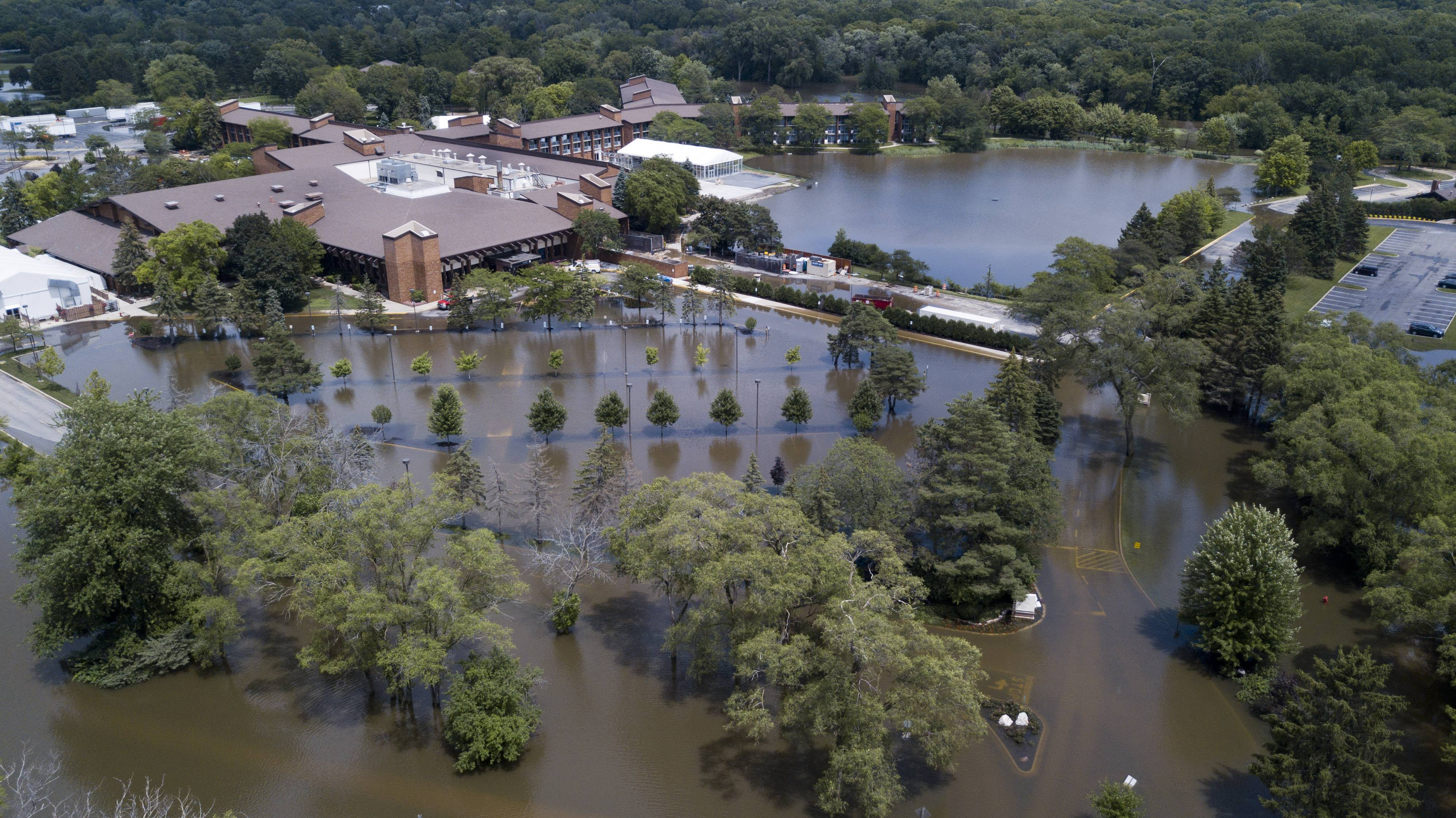 A drone aerial view showed the extent of flooding at the Marriott Lincolnshire last week. The resort reopened Tuesday and Marriott Theatre performances resume today.