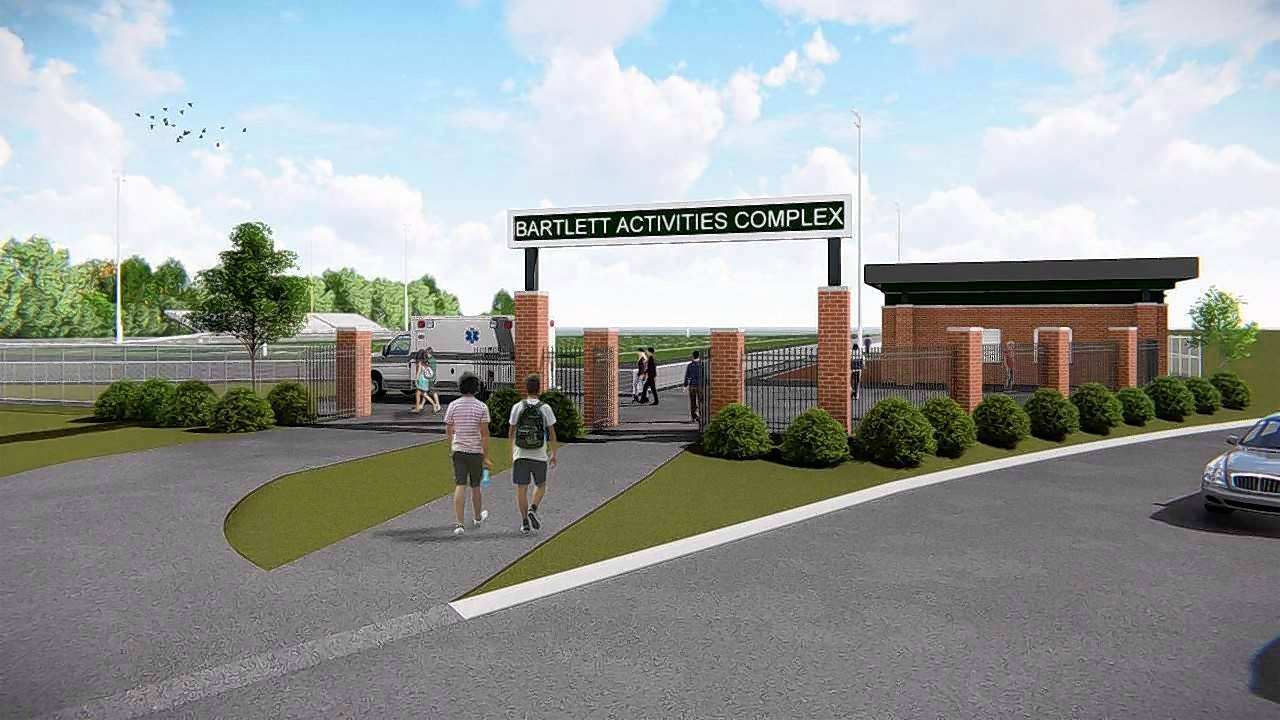A rendering of the proposed Bartlett High School Activities Complex. A $500,000 donation from a local business could kick-start construction of the long-stalled project this summer.