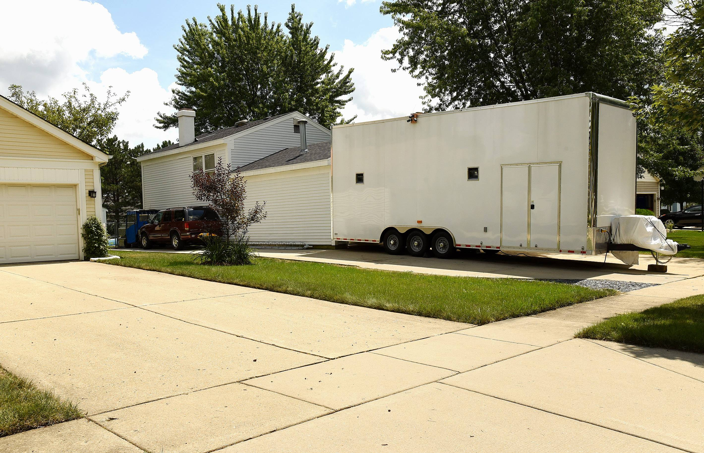 The 13-foot-tall, 28-foot-long hauling trailer in a Schaumburg driveway that sparked a year of debate on whether greater regulation of such trailers is needed.