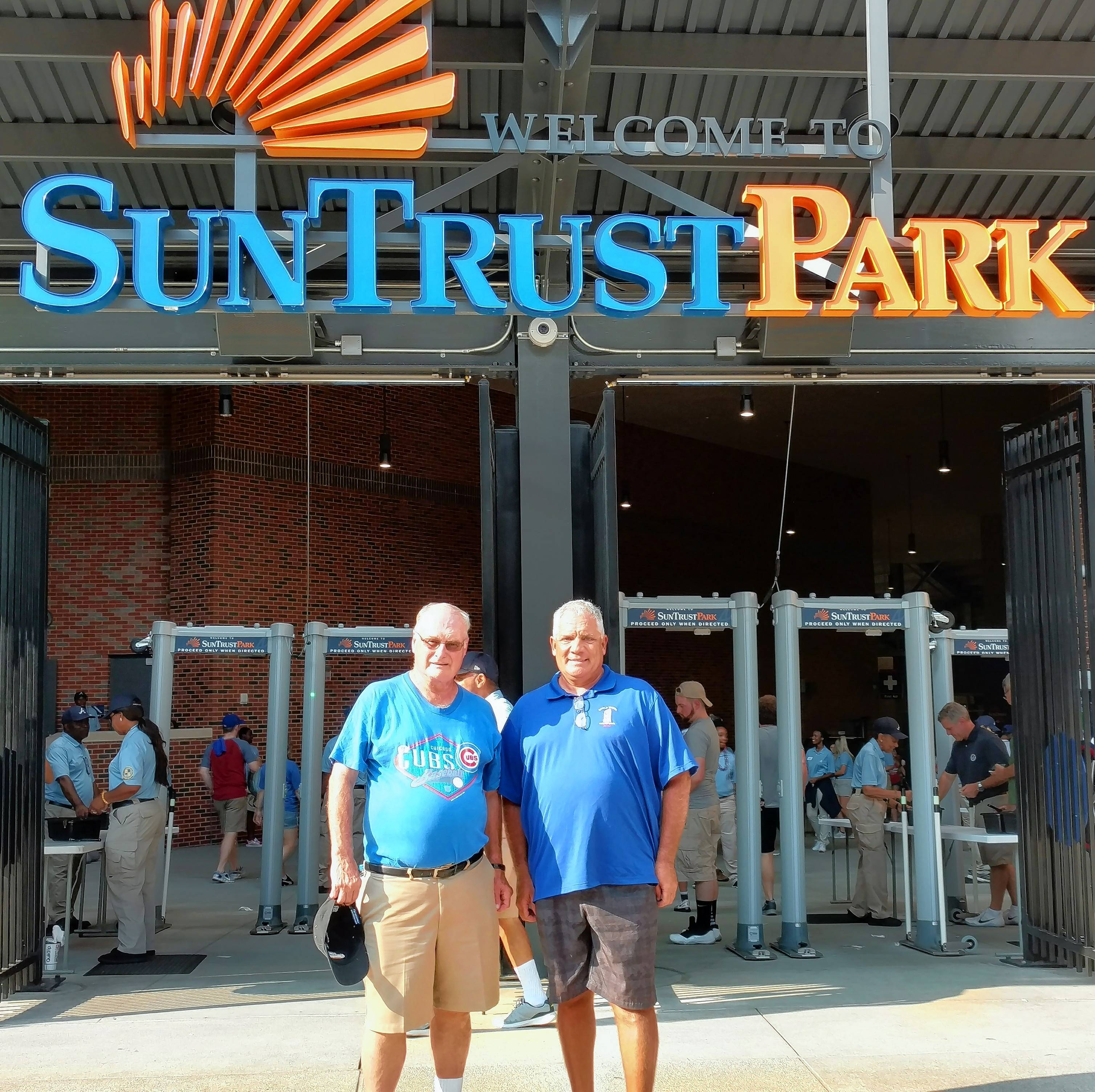 Watching the Chicago Cubs sweep the Braves in Atlanta isn't just fun for fans Ted Reineking, left, of Schaumburg and Fred Allman of Addison. Fred and Ted's excellent adventure marked the 50th Major League ballpark in which Allman has watched a game, and the 30th for Reineking.