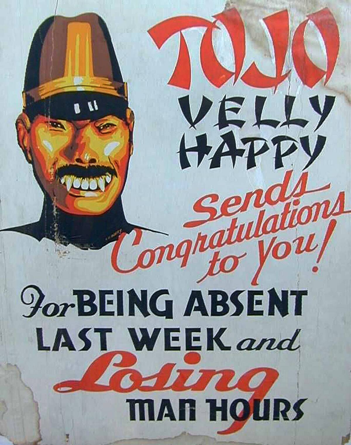 Propaganda posters such as this one depicting Japanese Prime Minister Hideki Tojo as having fangs were popular throughout the United States during World War II.
