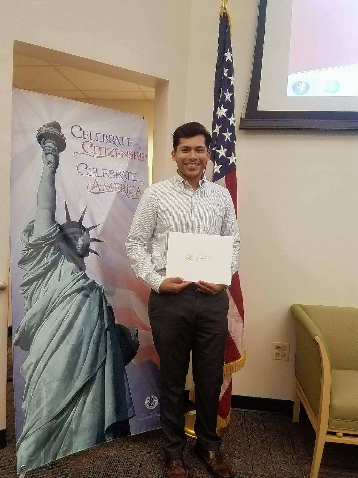 Round Lake resident Jose Alberto Alfaro, 24, became a U.S. citizen Aug. 1. He came to this country as an infant.