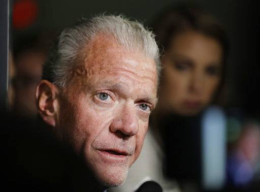 Indianapolis Colts owner Jim Irsay speaks to the media following an NFL preseason football game against the Detroit Lions, Sunday, Aug. 13, 2017, in Indianapolis. Detroit won 24-10. (AP Photo/Darron Cummings)