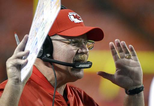 Kansas City Chiefs head coach Andy Reid gestures during the second half of the team's NFL preseason football game against the San Francisco 49ers in Kansas City, Mo., Friday, Aug. 11, 2017. (AP Photo/Ed Zurga)