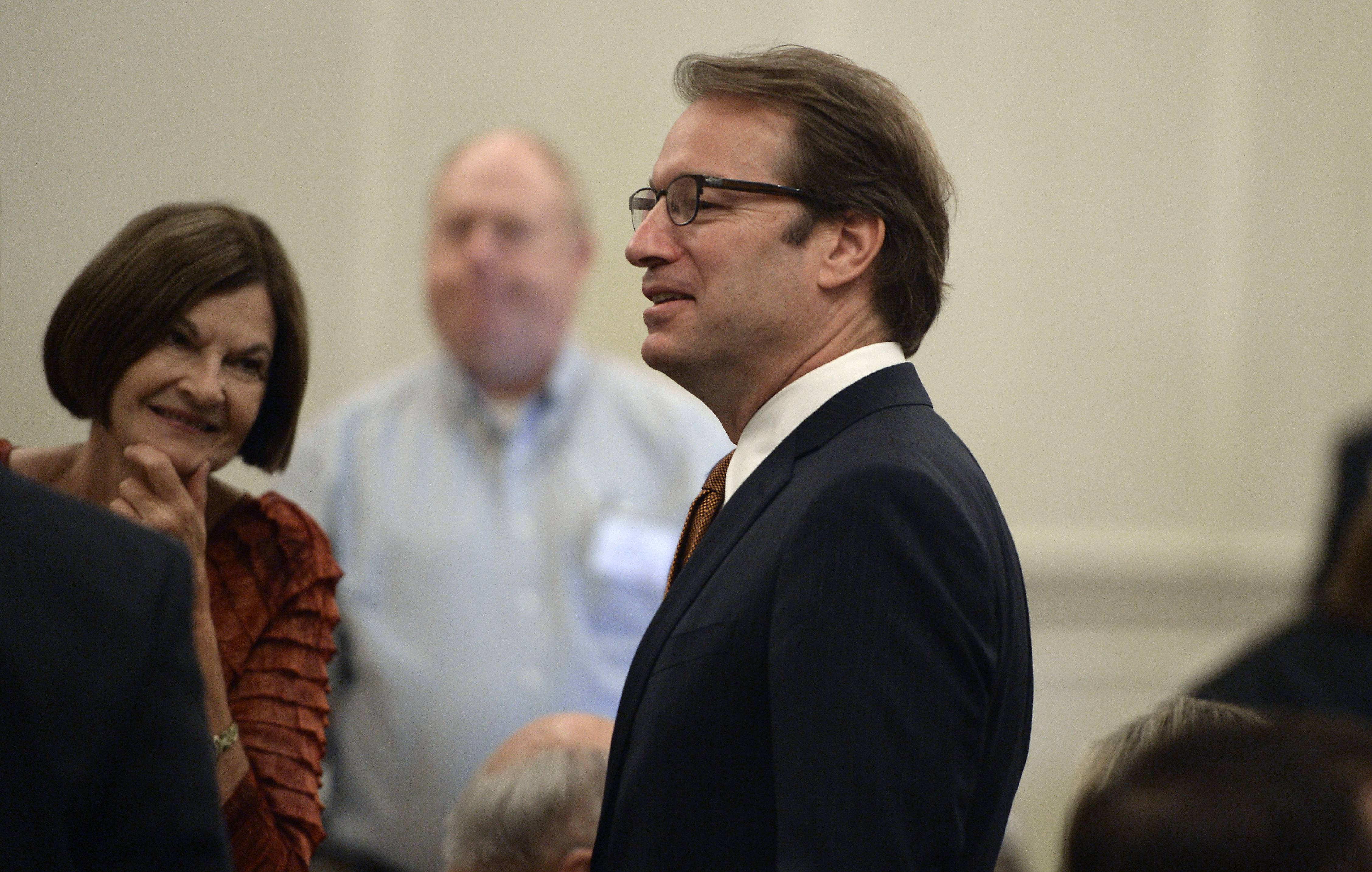 Republican U.S. Rep. Peter Roskam of Wheaton spoke Wednesday at a lunch meeting of suburban chambers of commerce in Palatine.