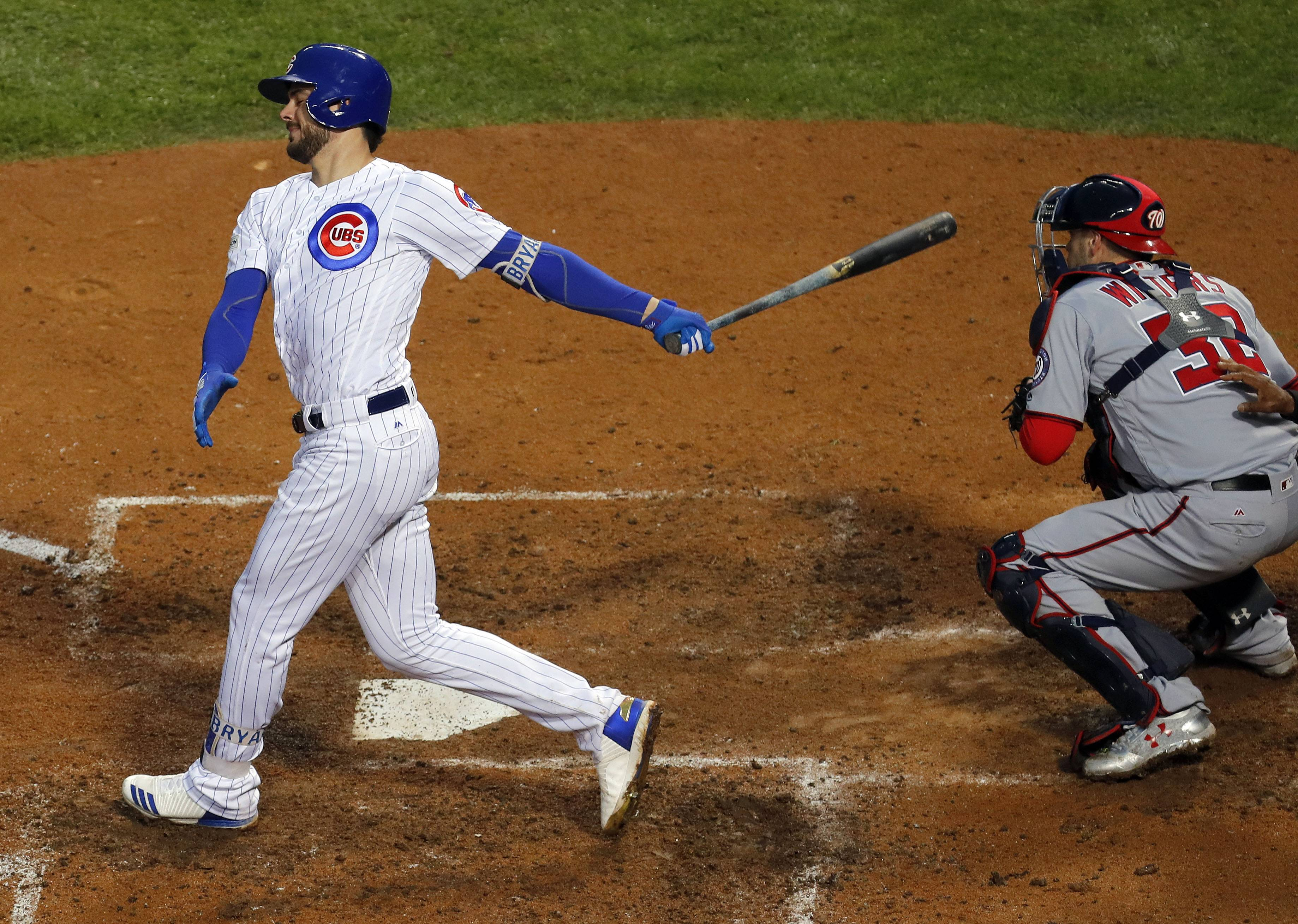 Chicago Cubs third baseman Kris Bryant strikes out for the 4th time during Game 4 of the National League division series at Wrigley Field in Chicago Wednesday, October 11, 2017.