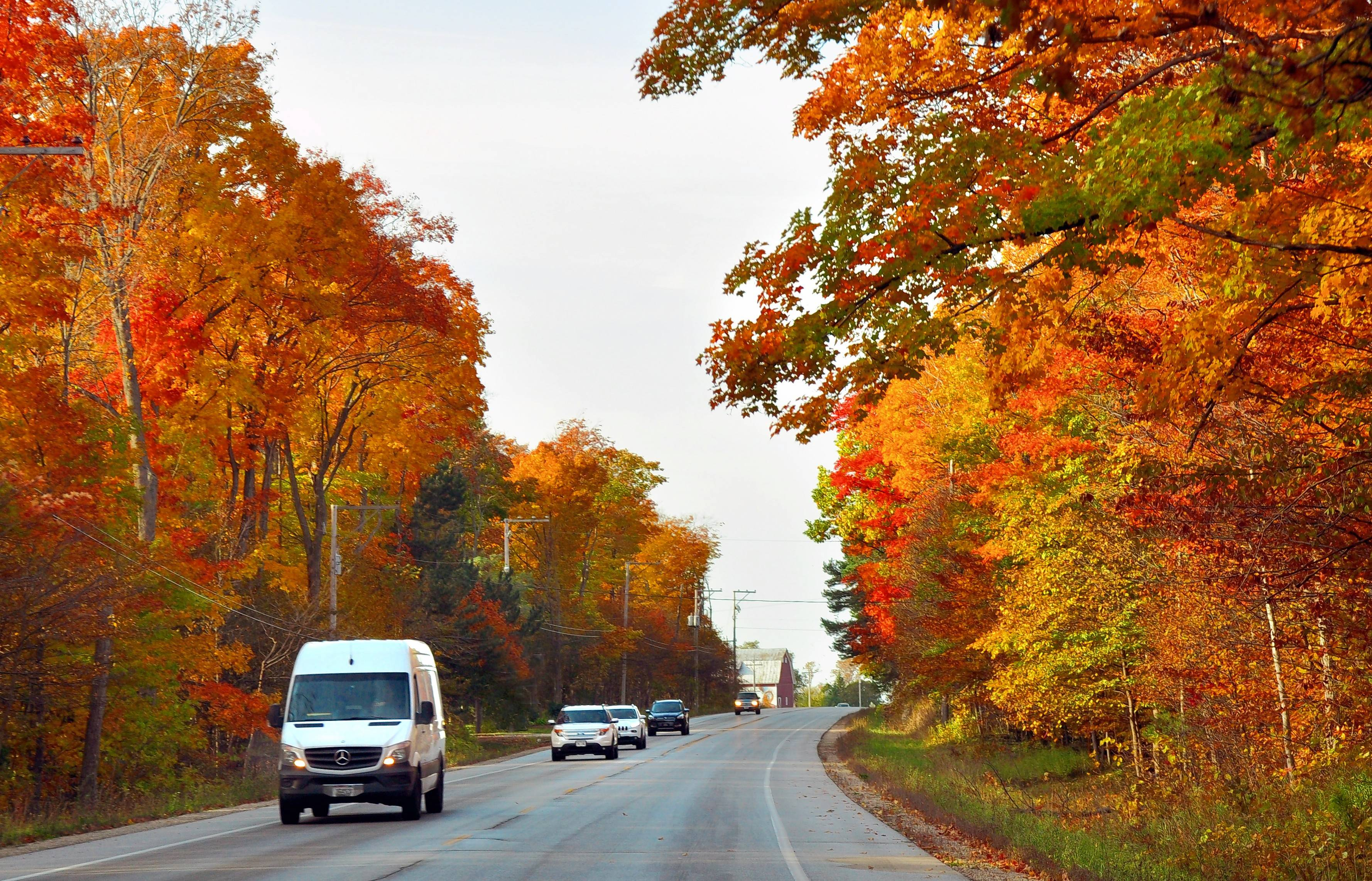 Brilliant fall foliage lines roads in Door County, Wis., in October.
