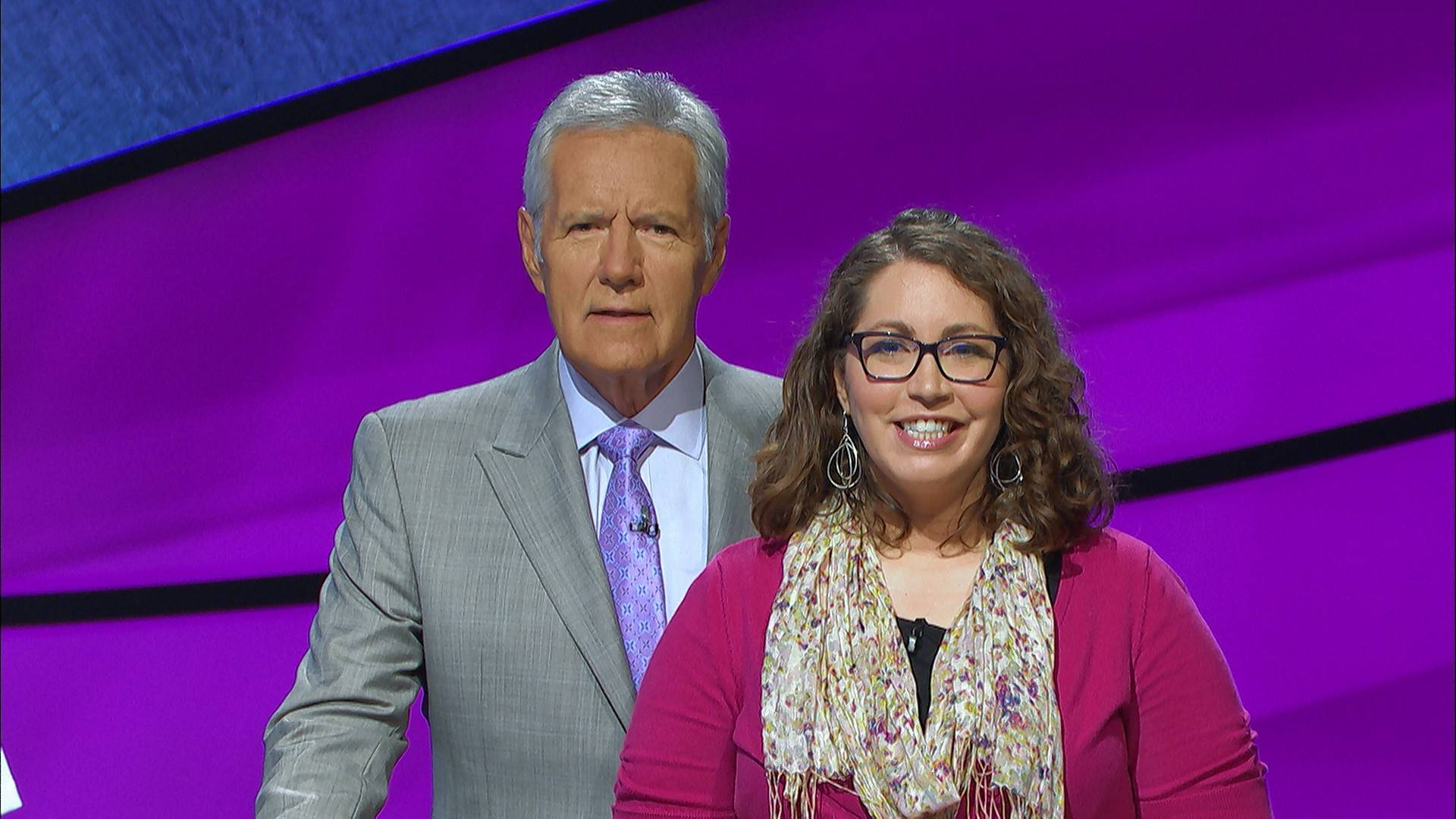 "Michelle Kritselis of Rolling Meadows, with ""Jeopardy!"" host Alex Trebek, will appear on a show airing Friday."