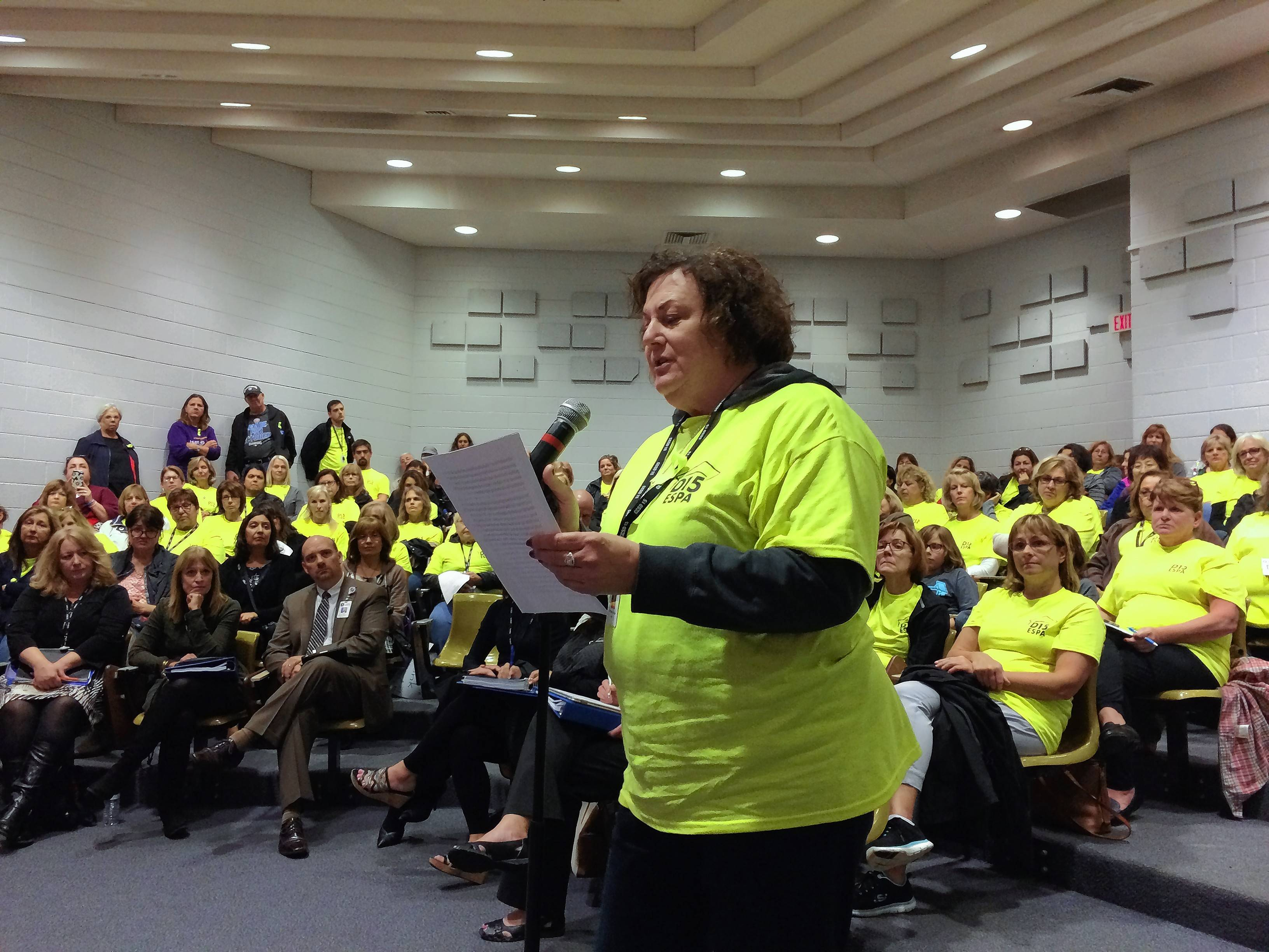 Rosella Roddy-Bartoli, a program assistant at Lincoln Elementary School in Palatine, spoke at Wednesday night's Palatine Township Elementary District 15 board meeting. She and other support employees want a new contract and may strike as early as Monday.