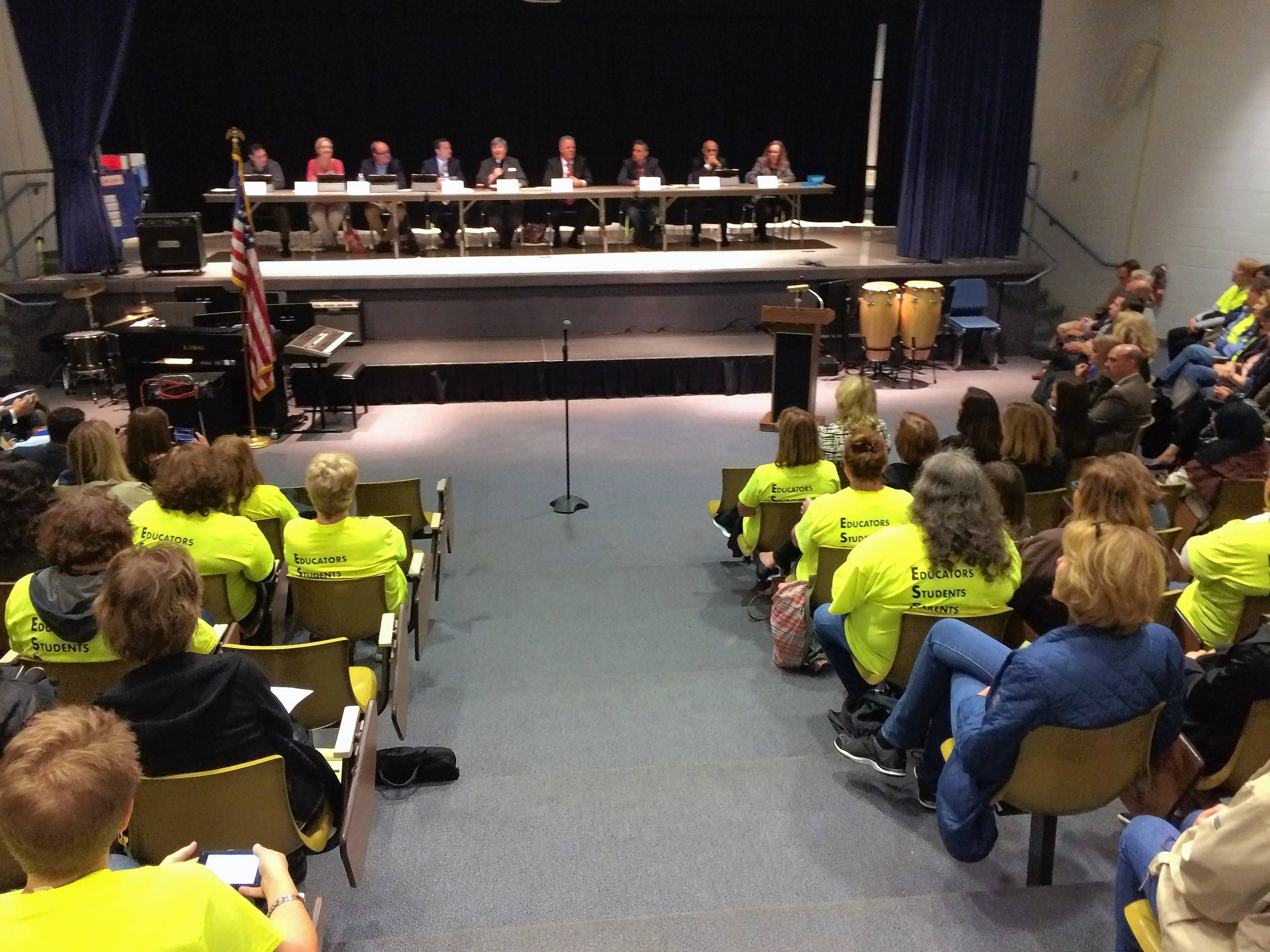 About 300 members of the Educational Support Personnel Association union and their supporters packed the Walter R. Sundling Junior High School theater in Palatine for Wednesday night's Palatine Township Elementary District 15 board meeting. The union members have been without a contract since June 30 and may strike as early as Monday.