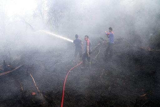 FILE - In this Sept. 16, 2014, file photo, firemen spray water in an attempt to extinguish bush fires on a peat land in Siak Riau province, Indonesia. A new NASA satellite finds another thing to blame on El Nino: A recent record high increase of carbon dioxide in the air. The satellite details how the super-sized El Nino a couple years ago added 2.5 billion tons of carbon into the air, making the natural phenomenon the main factor in the biggest jump in heat-trapping gas levels in modern record, NASA scientists said. (AP Photo/Rony Muharrman, File)