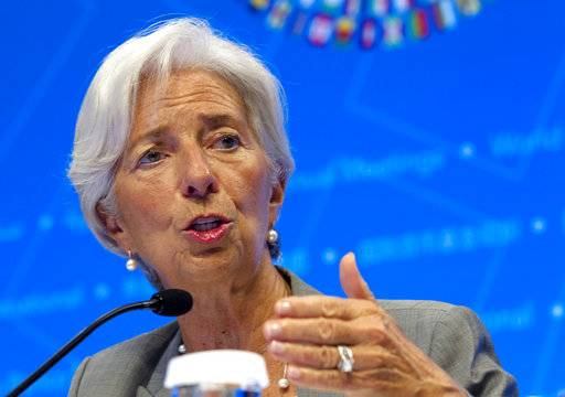 International Monetary Fund (IMF) Managing Director Christine Lagarde, speaks during a news conference at World Bank/IMF Annual Meetings in Washington, Thursday, Oct. 12, 2017. ( AP Photo/Jose Luis Magana)