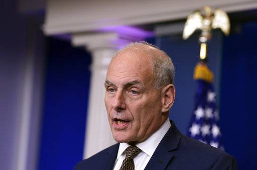 "White House Chief of Staff John Kelly speaks during the daily briefing at the White House in Washington, Thursday, Oct. 12, 2017. Kelly insisted he's not quitting or being fired - for now. ""Unless things change, I'm not quitting, I'm not getting fired and I don't think I'll fire anyone tomorrow,"" the retired Marine Corps general and former secretary of homeland security told reporters at the daily White House briefing. (AP Photo/Susan Walsh)"