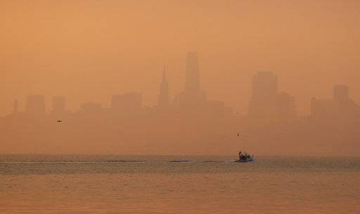 The San Francisco skyline is obscured by smoke and haze from wildfires Thursday, Oct. 12, 2017, in this view from Sausalito, Calif. Gusting winds and dry air forecast for Thursday could drive the next wave of devastating wildfires that are already well on their way to becoming the deadliest and most destructive in California history.
