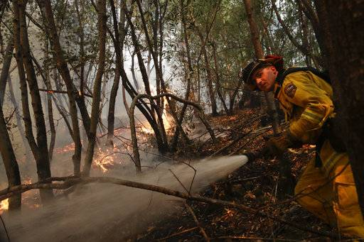 A firefighter puts out a hot spot from a wildfire Thursday, Oct. 12, 2017, near Calistoga, Calif. Officials say progress is being made in some of the largest wildfires burning in Northern California but that the death toll is almost sure to surge.