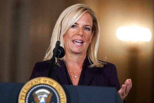 Kirstjen Nielsen, President Donald Trump's nominee to be the next secretary of Homeland Security, speaks during an event in the East Room of the White House, Thursday, Oct. 12, 2017, in Washington. (AP Photo/Evan Vucci)