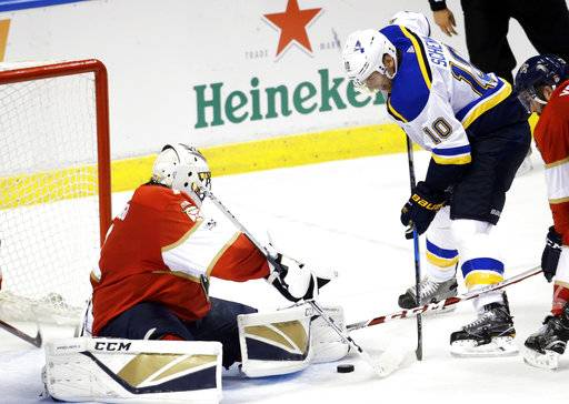Florida Panthers goalie Roberto Luongo, left, stops the puck on an attempt by St. Louis Blues' Brayden Schenn (10) during the second period of an NHL hockey game, Thursday, Oct. 12, 2017, in Sunrise, Fla. (AP Photo/Lynne Sladky)