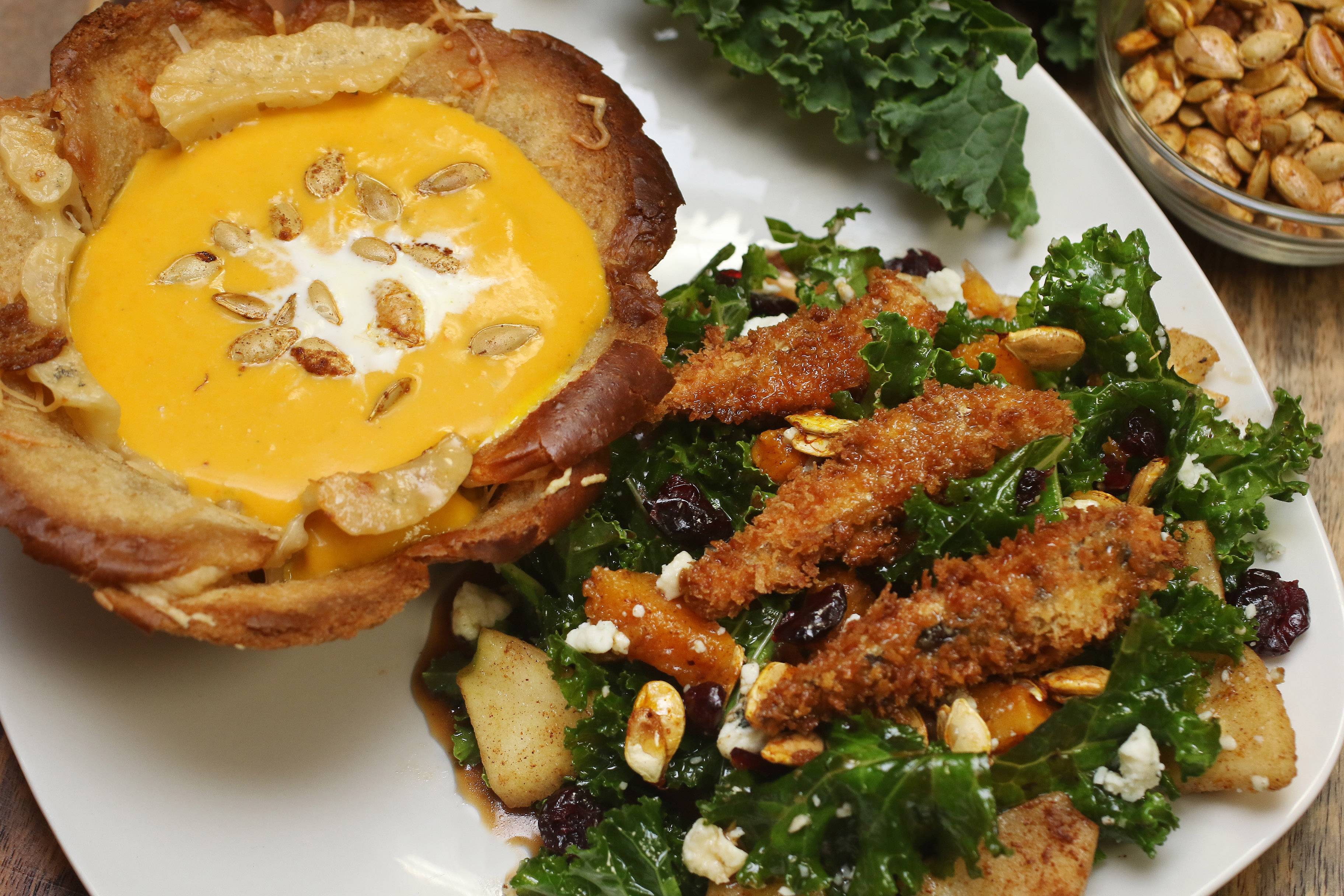Gilbert R. Boucher II/gboucher@dailyherald.comSweet heat panko-crusted sardines and kale salad with maple vinaigrette and roasted squash bisque created by Darla Marie Pitts of Chicago for the Cook of the Week Challenge.