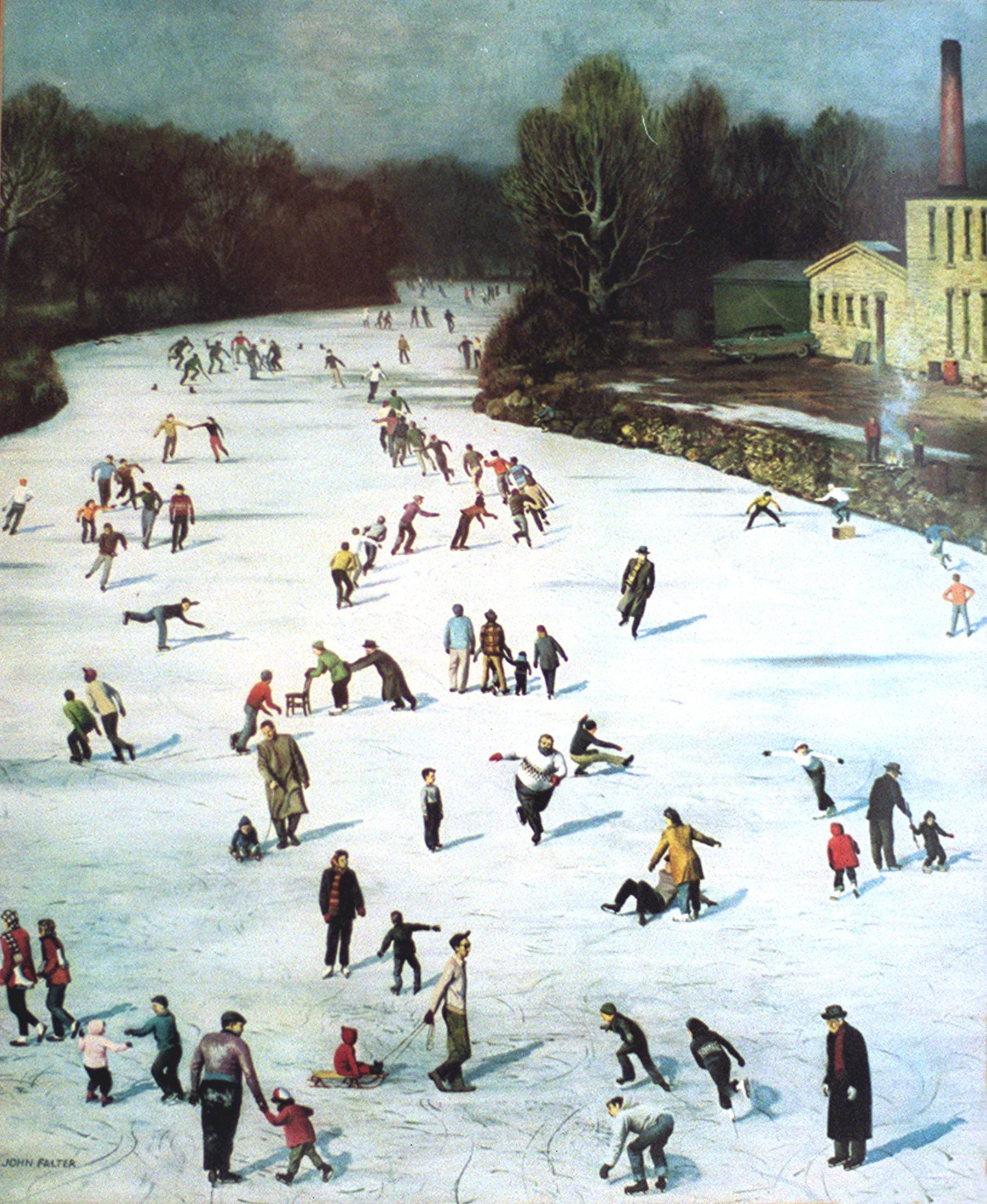 This painting of skaters on the Fox River in Batavia by John Falter appeared on the cover of the Saturday Evening Post in 1958.