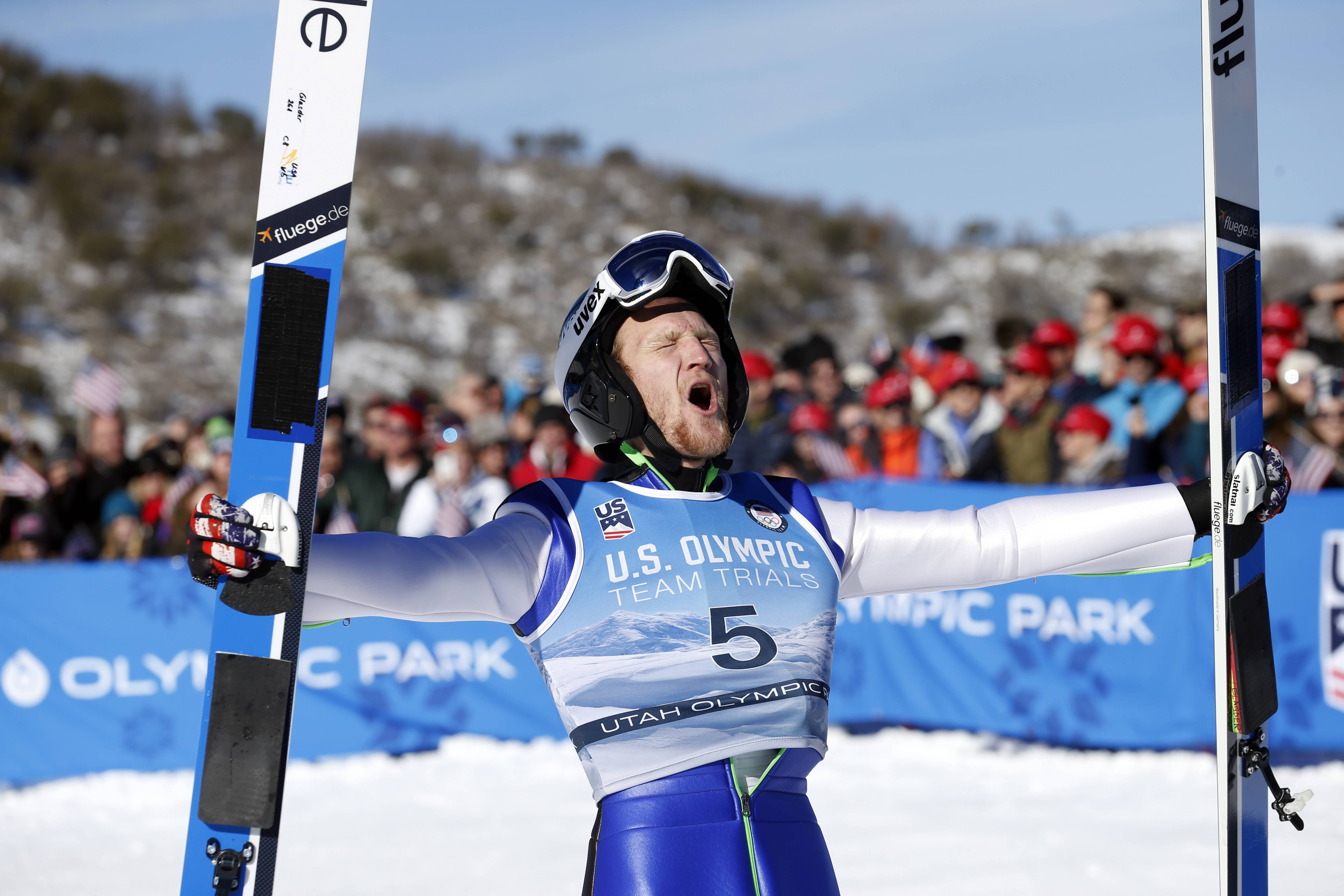 Norge Ski Club member Michael Glasder, 28, of Cary celebrates after winning the men's ski jumping event at the U.S. Olympic Team Trials Sunday in Park City, Utah. Glasder qualified for the Olympic team.