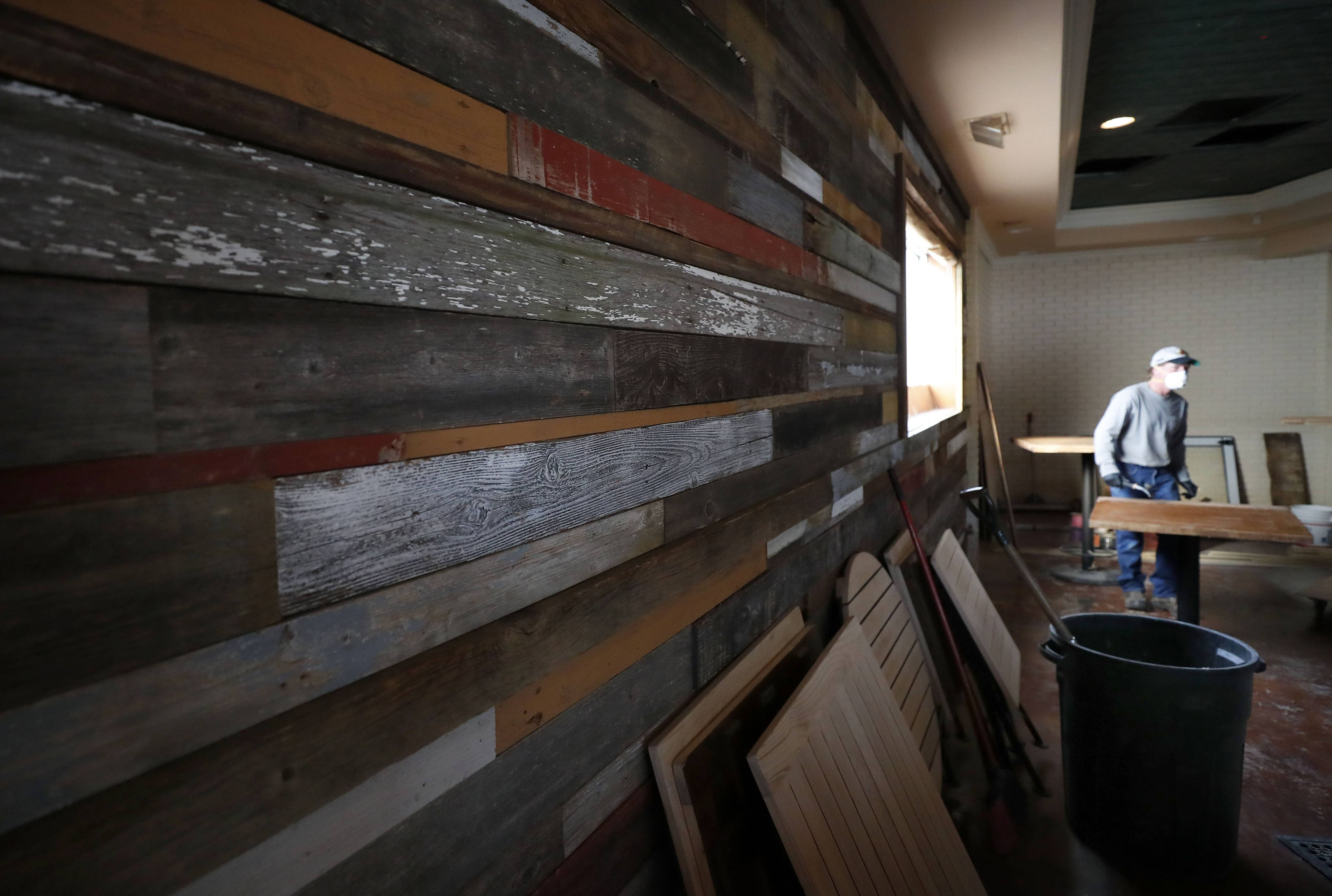 Reclaimed barn wood is used on the interior of the new Timothy O'Toole's in Lake Villa.