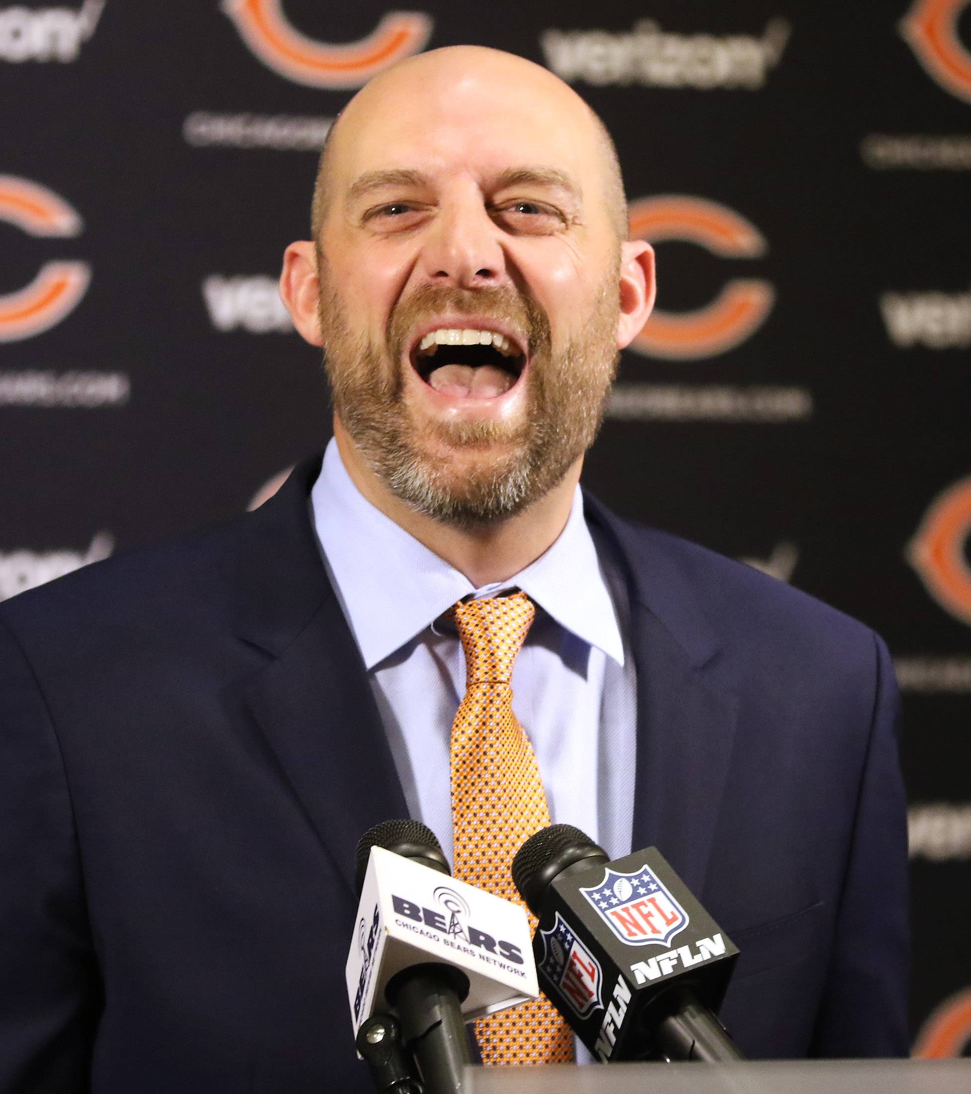 Matt Nagy enjoys a lighter moment while talking about the pressure of becoming a head coach in the NFL. Nagy is the 16th head coach in Bears history.