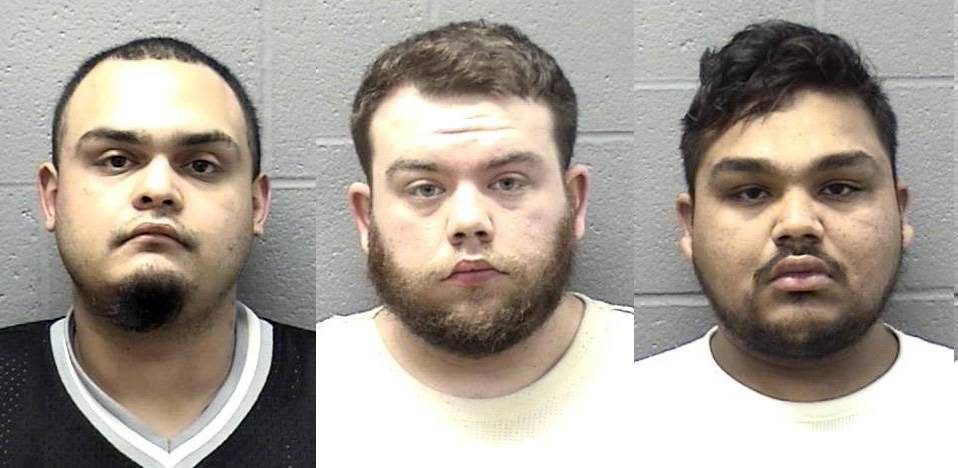 Julio Hernandez, Justin Tackett and Marco Sarmiento were charged after a pizza delivery driver was robbed and his car stolen Tuesday, Elgin police said.