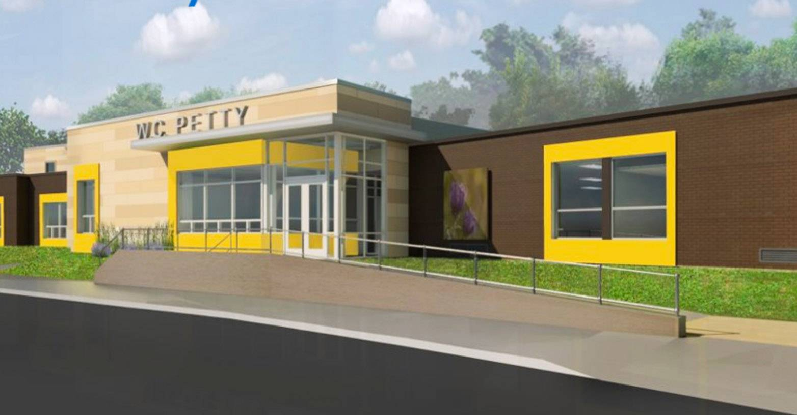 A rendering of W.C. Petty school after an addition in Antioch Elementary District 34.