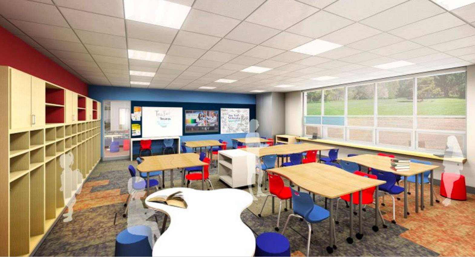 A rendering shows a planned classroom at Oakland Elementary School in Antioch Elementary District 34.