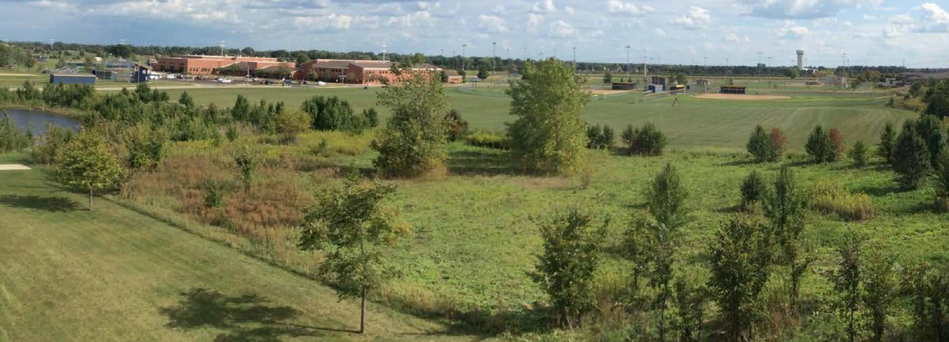 A 2-acre area south of the 95th Street Library that's part of Frontier Sports Complex in Naperville is under consideration as the site of a future plaza that could feature outdoor gathering, reading and fitness spaces.
