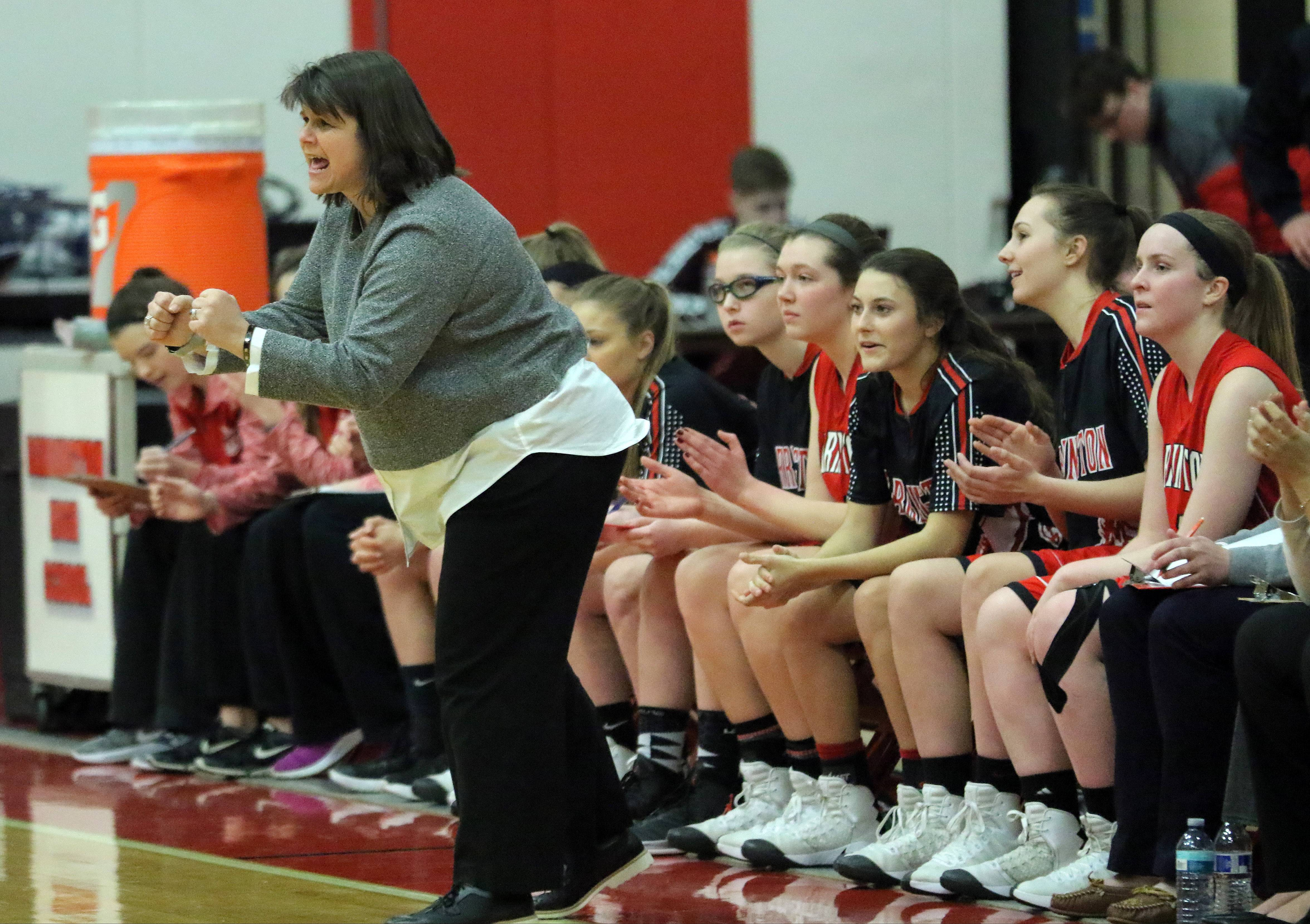 Barrington coach Babbi Barreiro, shown here during regional action against Mundelein last season, picked up career victory No. 400 on Friday at Fremd.