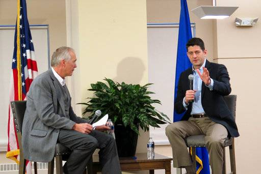 "House Speaker Paul Ryan, R-Wis., takes questions from Wispolitics.com President Jeff Mayers on Friday, Jan. 12, 2018, in Milwaukee. The Q&A session was about the country's new tax law, but Ryan addressed obscene comments about immigrants made by President Donald Trump, calling the remarks ""very unfortunate, unhelpful."""